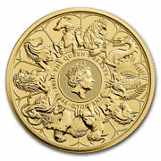 2021 Great Britain 1 Oz Gold Queenand039s Beasts Completer Andpound100 Coin Bu