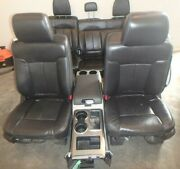 2009-2014 Ford F150 Front/rear Seat Set W/console Black Leather Power Heat Oem