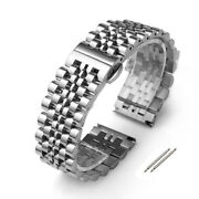 Stainless Steel Watch Band Solid Link Bracelet Butterfly Clasp Replacement Strap