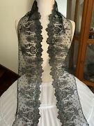 Remarkable Antique Bayeux Chantilly Lace Edging With Floral Design 2m By 16cm