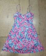 Used Lilly Pulitzer Easton Dress Cosmic Coral Cracked Up Size 4 Msrp 168