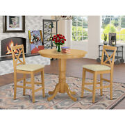 Counter Height Set-pub Table And Dining Chairs Oak 3 Round Microfiber Seat