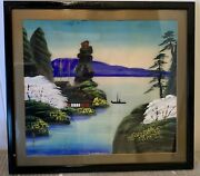 Vintage Japanese Asian Painting On Fabric Art Seascape Signed Framed