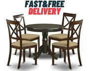 Dining Set 5pcs Round Table Wooden Kitchen Chairs Furniture Mid Century Cushion