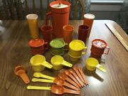 Vintage Harvest Tupperware Orange Pitcher Tumblers Measuring Cups Spoons And More