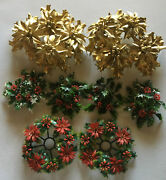 Vintage Lot 8 Plastic Candle Rings Christmas Holly Berries Poinsettia Greenery