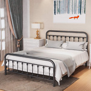 Noillats Metal Bed Frame Queen Size With Vintage Headboard And Footboard, Stable
