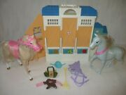 Barbie Horse Riding Stable With Horses Toy Lot