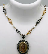Estate Antique 18kt Yellow Gold/sterling Silver Natural Pearls Necklace 15.5andrdquo