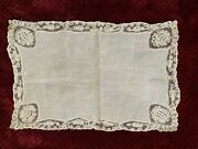 Antique Handmade French Doily - Bobbin Lace Edging 46cm By 30cm,
