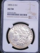 1893 O Morgan Silver Dollar Ngc Au58 White Great Luster Pq Just Graded G21