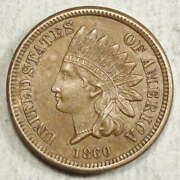 1860 Indian Cent Round Bust Almost Uncirculated Original 0713-02
