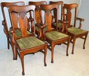19765 Set Of 6 Oak Carved Claw Foot Arm Chairs Andndash Very Rare