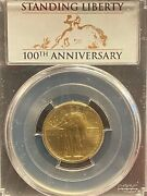 2016-w Gold Standing Liberty Quarter Pcgs Sp70 First Strike 100th Anniversary