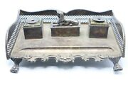 Anitique Silver Double Ink Well And Pen Stand