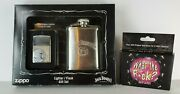 Limited Edition Jack Daniels Chrome Zippo Lighter And Flask Gift Set And Bar Cards