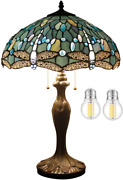 Large Dragonfly Table Lamp Style Room Reading Desk Light Stained Glass