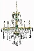 Alexandria Chandelier Traditional Antique 6-light Green Gold 60w