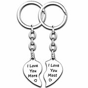 2pcs Heart Keychains Couples Gifts Anniversary For 2pcs I Love You More Most