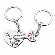 2pcs Couple Key Chain Ring Set-i Love You With Red Heart Keychains Set For