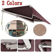 Us Patio Awning Manual Retractable Sun Shade Awning Outdoor Deck Canopy Shelter