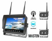 Masten Wireless Ccd Camera X2 System 7lcd Monitor For Truck Car Ir Horse Float