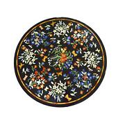 30and039and039 Black Round Marble Table Top Dining Side Pietra Dura Inlay Room Antique Ffw