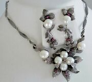 💖 77g Sterling Silver 925 Full Hm Marcasite Pearl Ruby 💖 Necklace Earrings Set