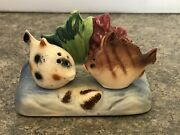 Vintage Occupied Japan Fish Sitting In Water Salt And Pepper Shakers
