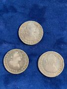 Mexico Spanish Colonial Charles Iv 1798-fm, 1801-ft, 1807-th 1 Real Silver Coins