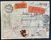 1924 Barcis Italy Parcel Receipt Registered Card Cover To Liege Belgium