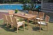 9pc Grade-a Teak Dining Set 60 Rectangle Table 8 Wave Stacking Arm Chair Patio