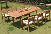 Montana Grade-a Teak 7pc Dining 94 Rectangle Table 6 Stacking Arm Chair Set New