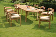 Montana Grade-a Teak 9pc Dining 94 Oval Table 8 Stacking Arm Chair Set New