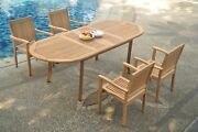 5pc Grade-a Teak Dining Set 94 Oval Table 4 Leveb Stacking Arm Chair Outdoor