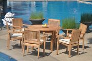 7pc Grade-a Teak Dining Set 48 Round Table 6 Leveb Stacking Arm Chair Outdoor