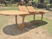 Grade-a Teak Wood 94 Mas Oval Double Extension Dining Table Outdoor Patio New