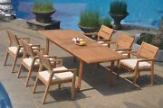 7pc Grade-a Teak Dining Set 94 Rectangle Table 6 Vellore Stacking Arm Chair