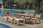7pc Grade-a Teak Dining Set 94 Oval Table 6 Vellore Stacking Arm Chair Outdoor