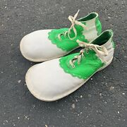 """Vintage White And Neon Green Circus Clown Shoes Specialty Oversized Vibram 13"""""""