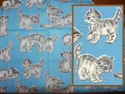 Vtg 40s Juvenile Novelty Fabric Kittens Cats On Sky Blue Background Abc Percale