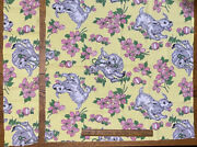 Vtg Juvenile Novelty Fabric Puppies Dogs Frolicking Pink Green Yellow Background