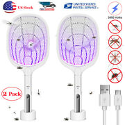 2 Pack Electric Mosquito Killer Handheld Usb Rechargeable Bug Fly Swatter Zapper