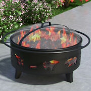 Regal Flame Wild Bear 35 Portable Outdoor Fireplace Fire Pit Ring For Backyar...