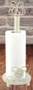 Antique Kitchen Paper Towel Holder Distressed Metal Daisy Ornamental Roll Stand