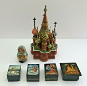 Lot 6 Russian/urss Hand Painted Egg Madonna/trinket Boxes St. Basil's Cathedral
