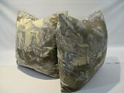 Cottage Style, French Country Lutece Toile, Pillow Covers, Blue And Taupe, New