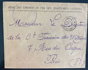 1924 Occupation Of Germany By France Railways Official Cover To Paris