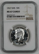 1967 Sms Kennedy Half Dollar 50c Ngc Certified Ms 67 Mint Unc - Cameo 017