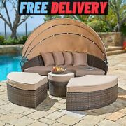 Patio Furniture Daybed Set Outdoor Canopy Sun Bed Garden Rattan Sofa Round Pool
